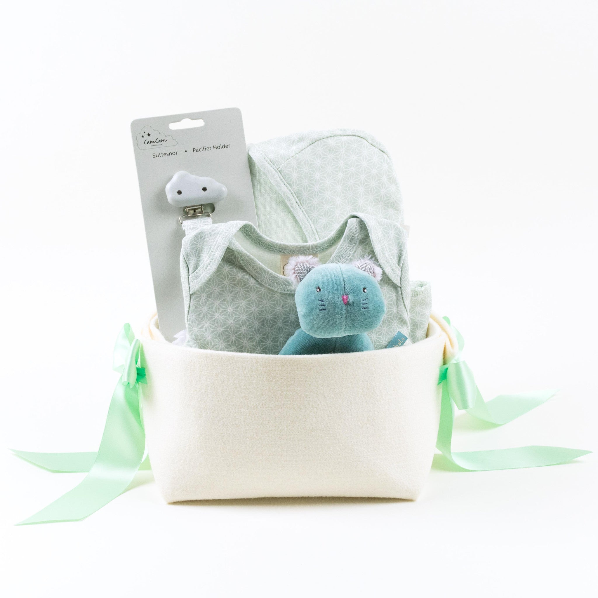 Welcome Home Baby Gift Basket in organic cotton by Bonjour Baby Baskets