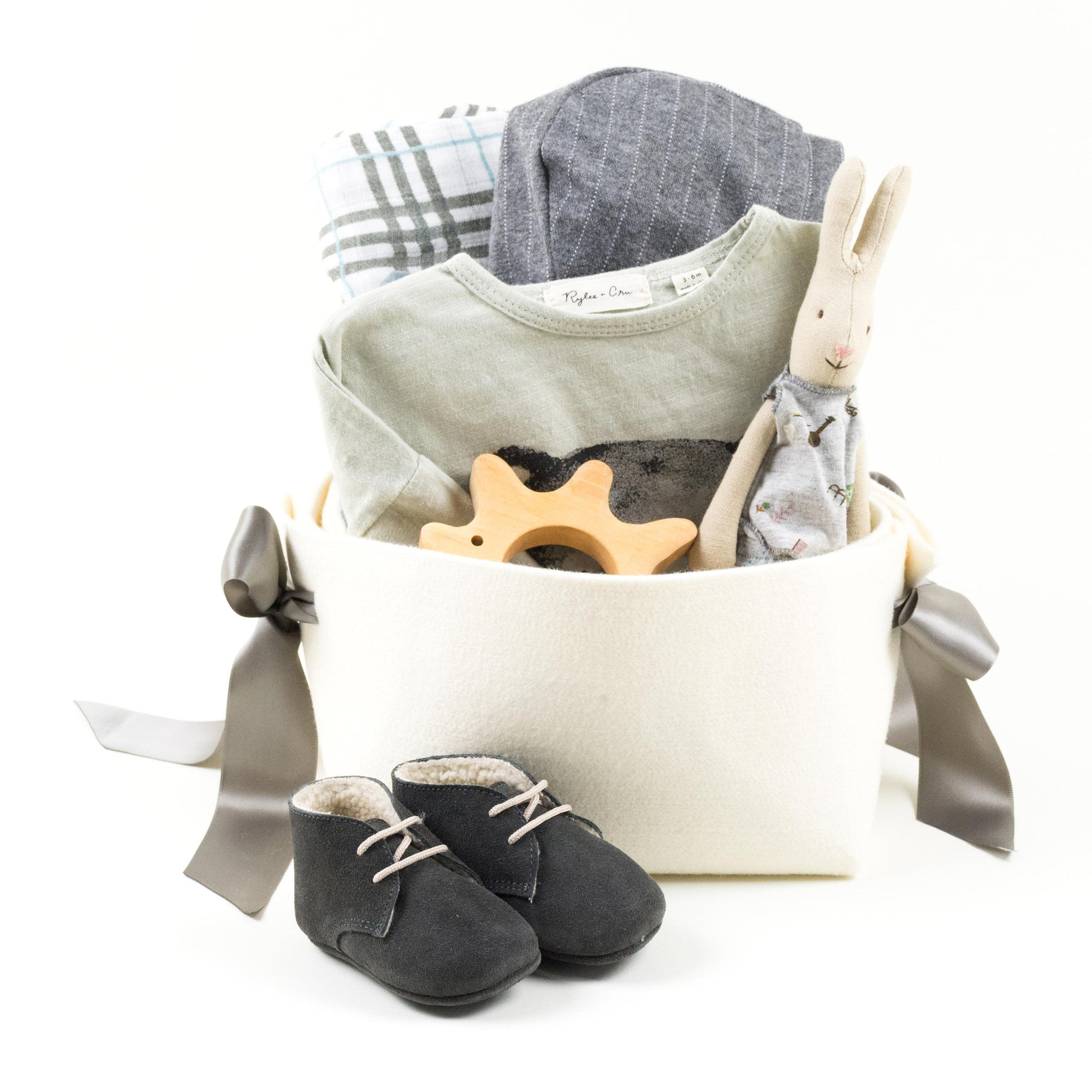 Exclusive Baby Boy Gift Basket featuring Rylee and Cru
