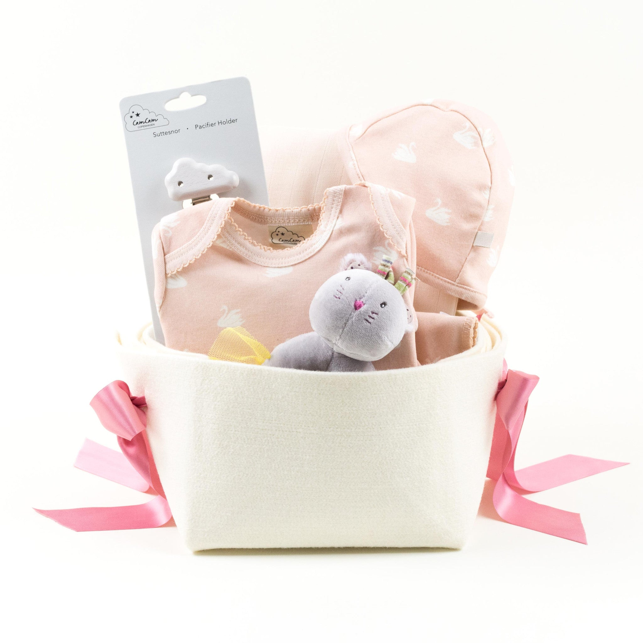 Bonjour Baby Baskets Organic Welcome Home Baby Girl Gift Basket