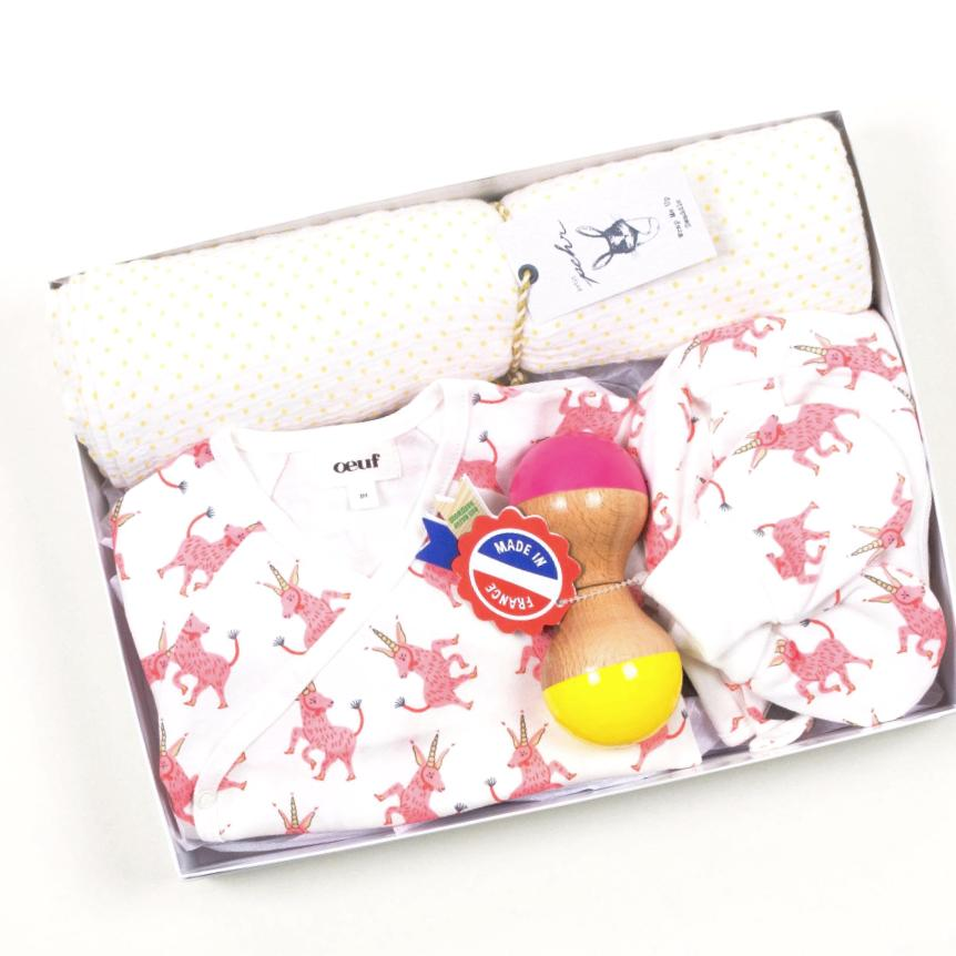 Luxury Baby Gift Set with Unicorns by Bonjour Baby Baskets