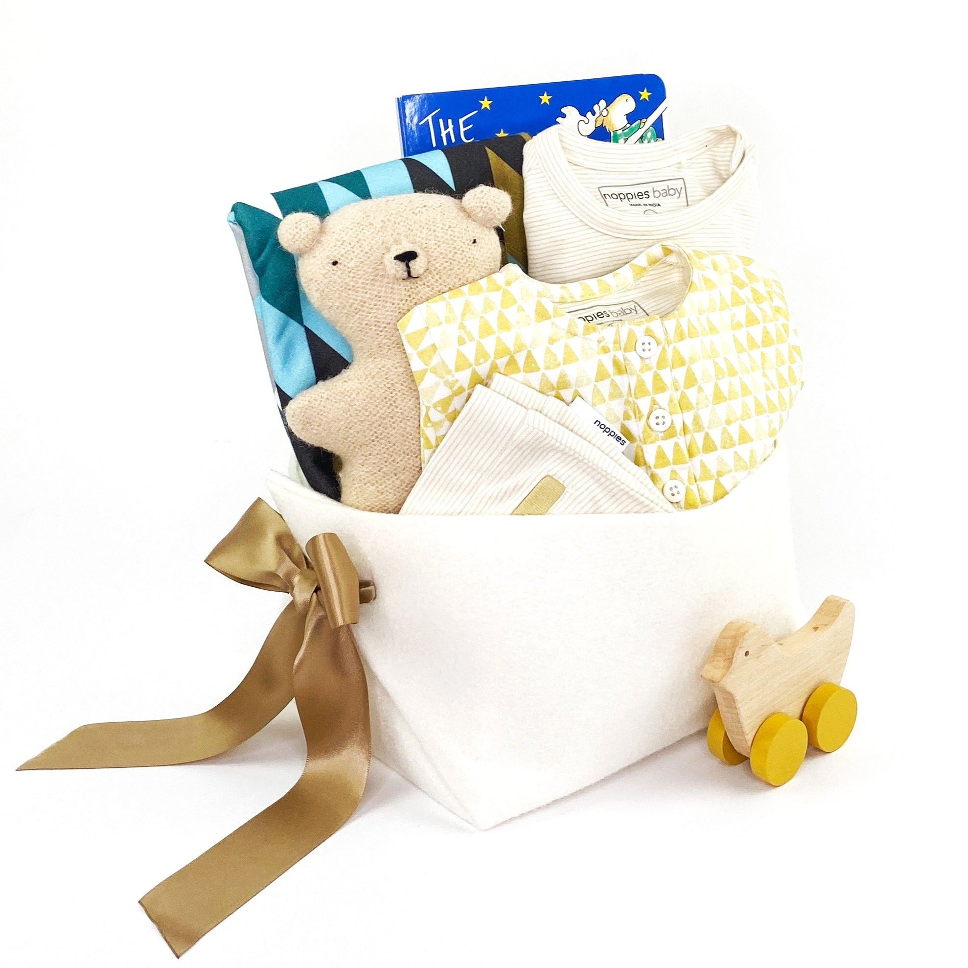 Luxury Baby Gift Basket in neutral at Bonjour Baby Baskets