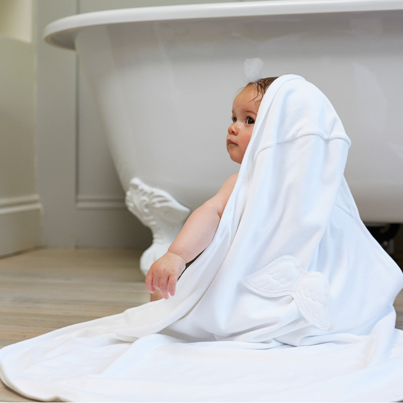 Luxury Baby Towel set by Marie Chantal at Bonjour Baby Baskets, perfect addition to your BYOB ( Build Your Own Basket )