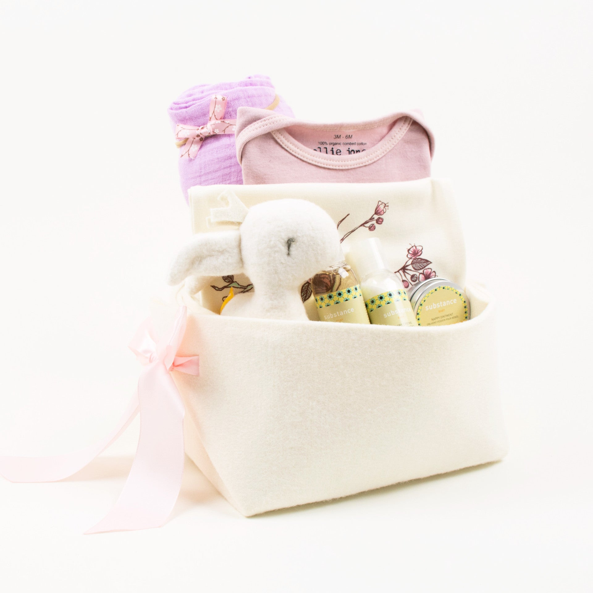 Cherry Blossoms Baby Girl Gift Basket by Bonjour Baby Baskets