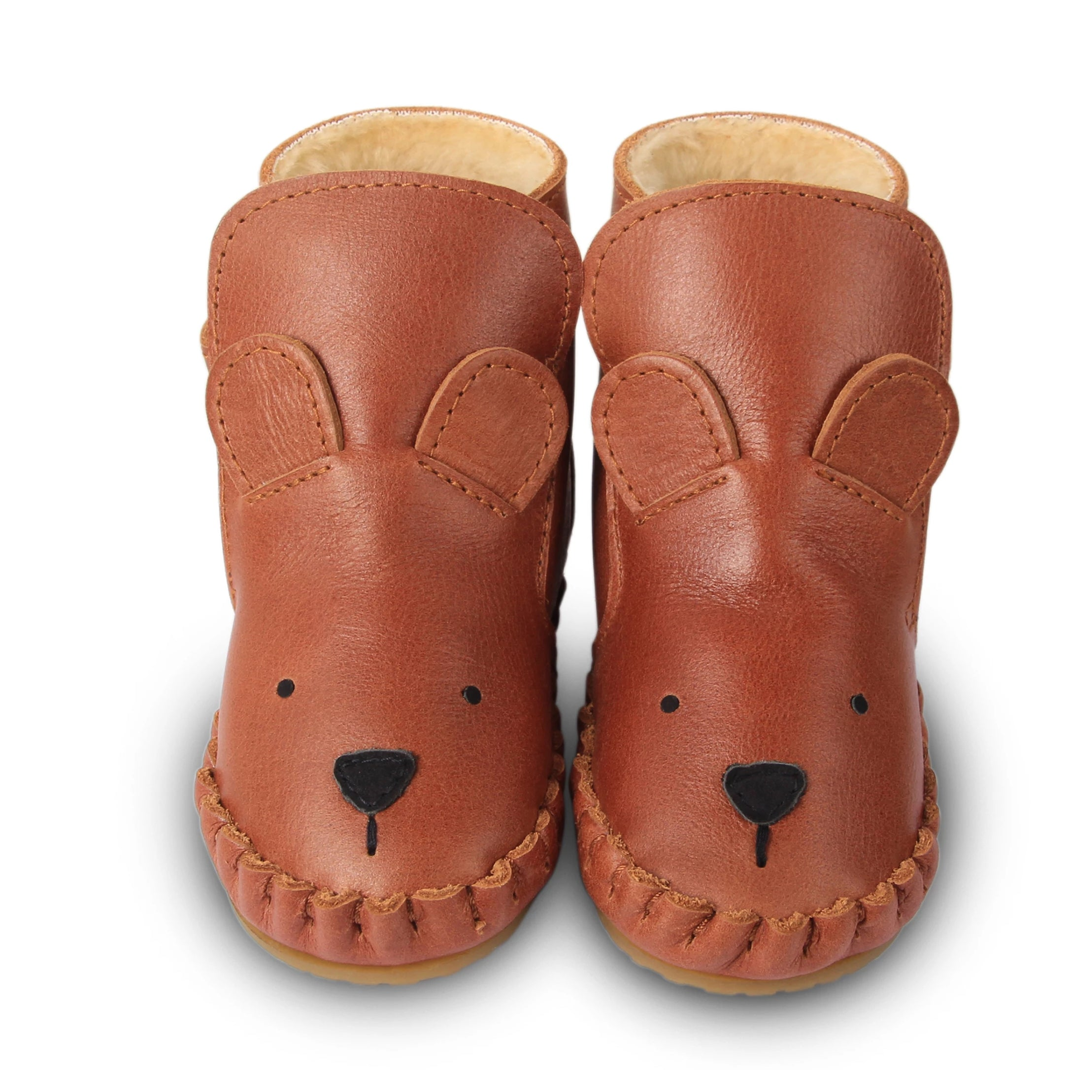 Donsje Lined Baby Boots in Bear at Bonjour Baby Baskets. Perfect addition to your BYOB (Build Your Own Basket)
