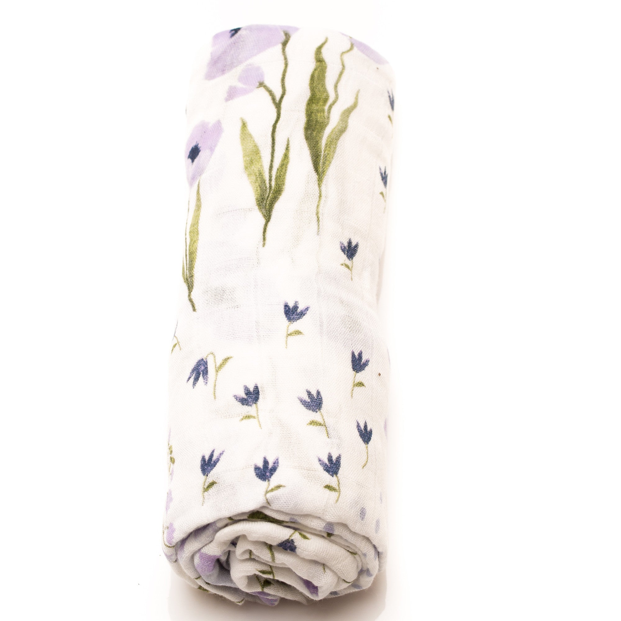 "Swaddle Bamboo Muslin Blanket ""Blue Wildflower"""