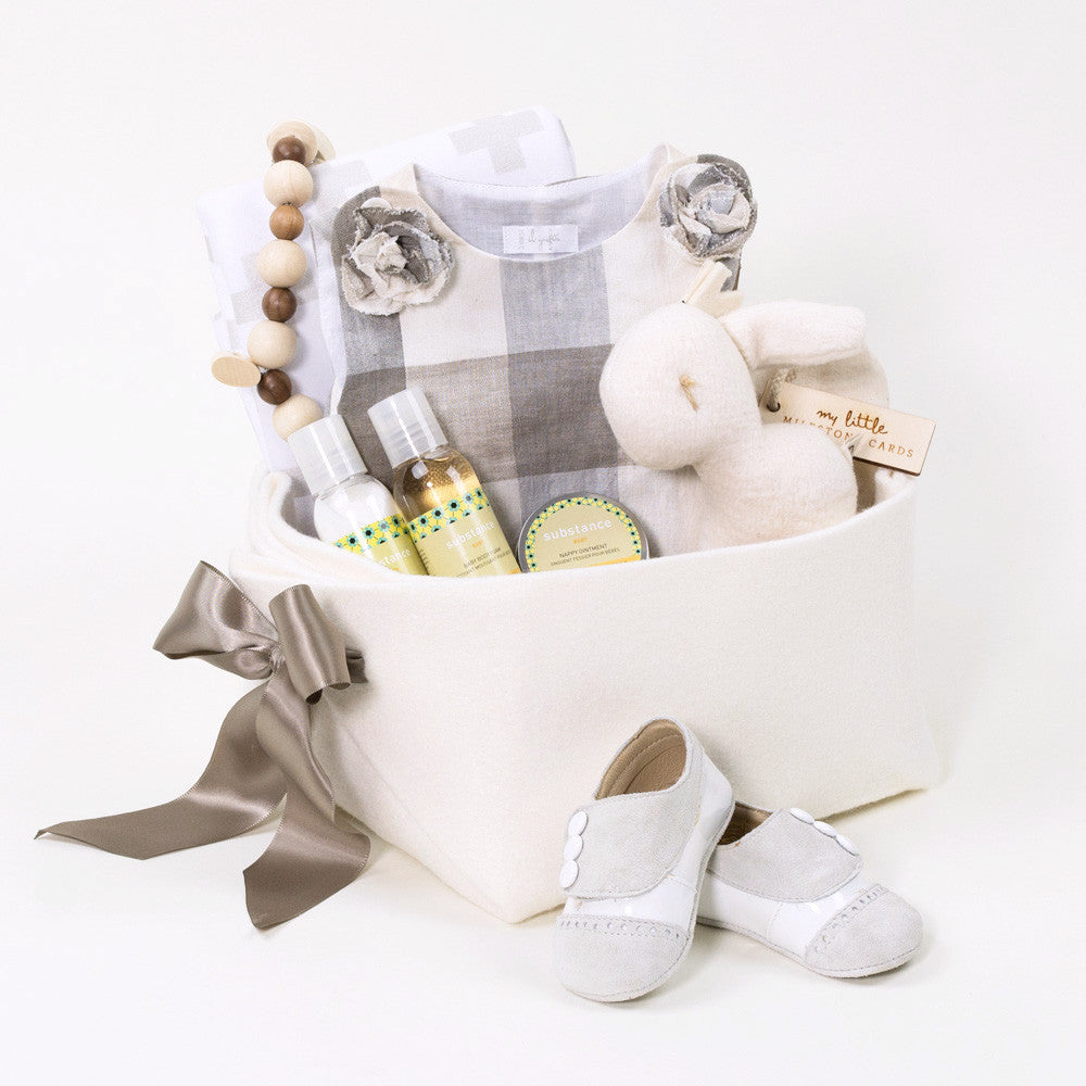 Luxurious baby girl gift basket featuring Il Gufo
