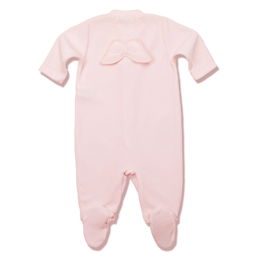 Angel Wing Pointelle Footie Pink