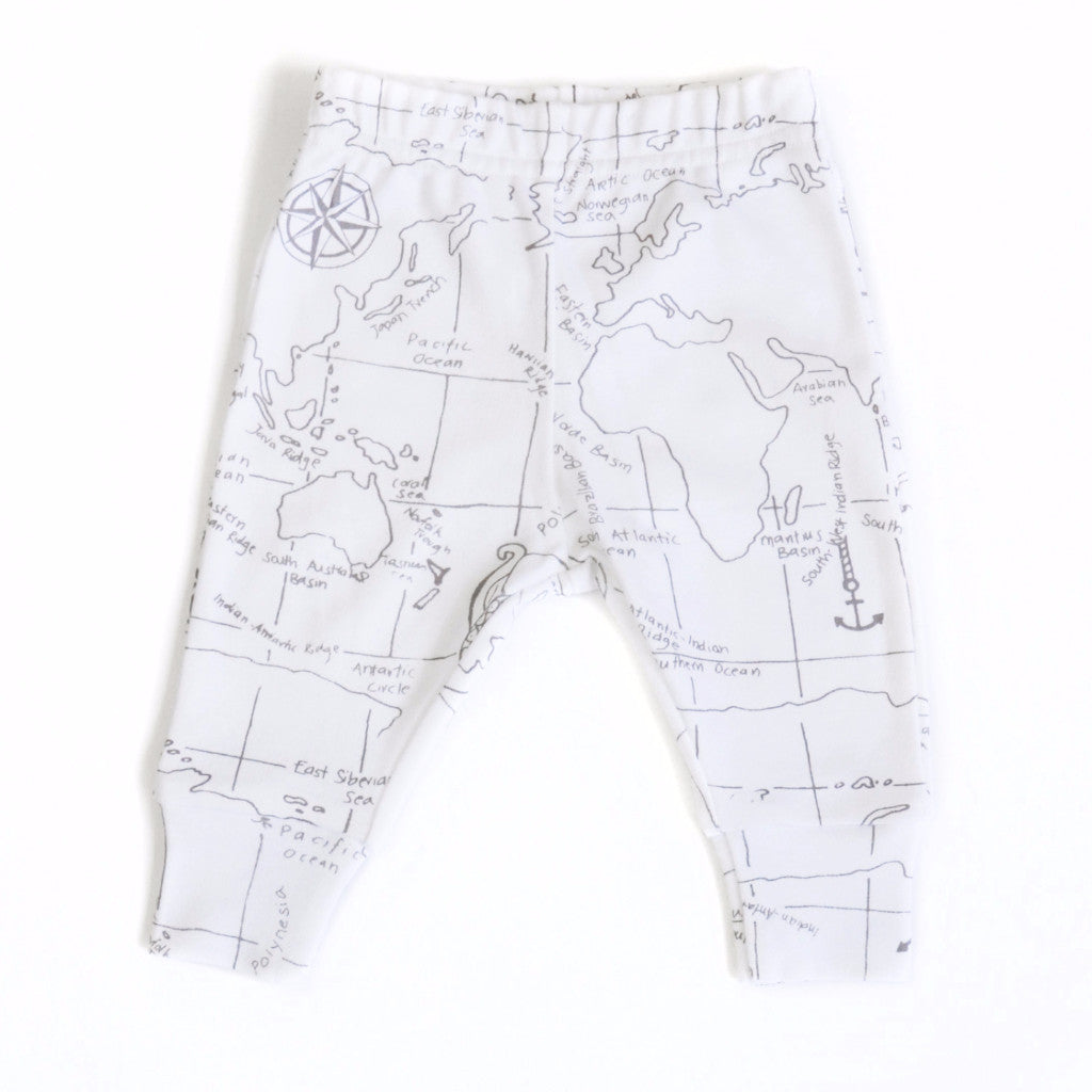 Organic Baby Leggings with World Map print at Bonjour Baby Baskets