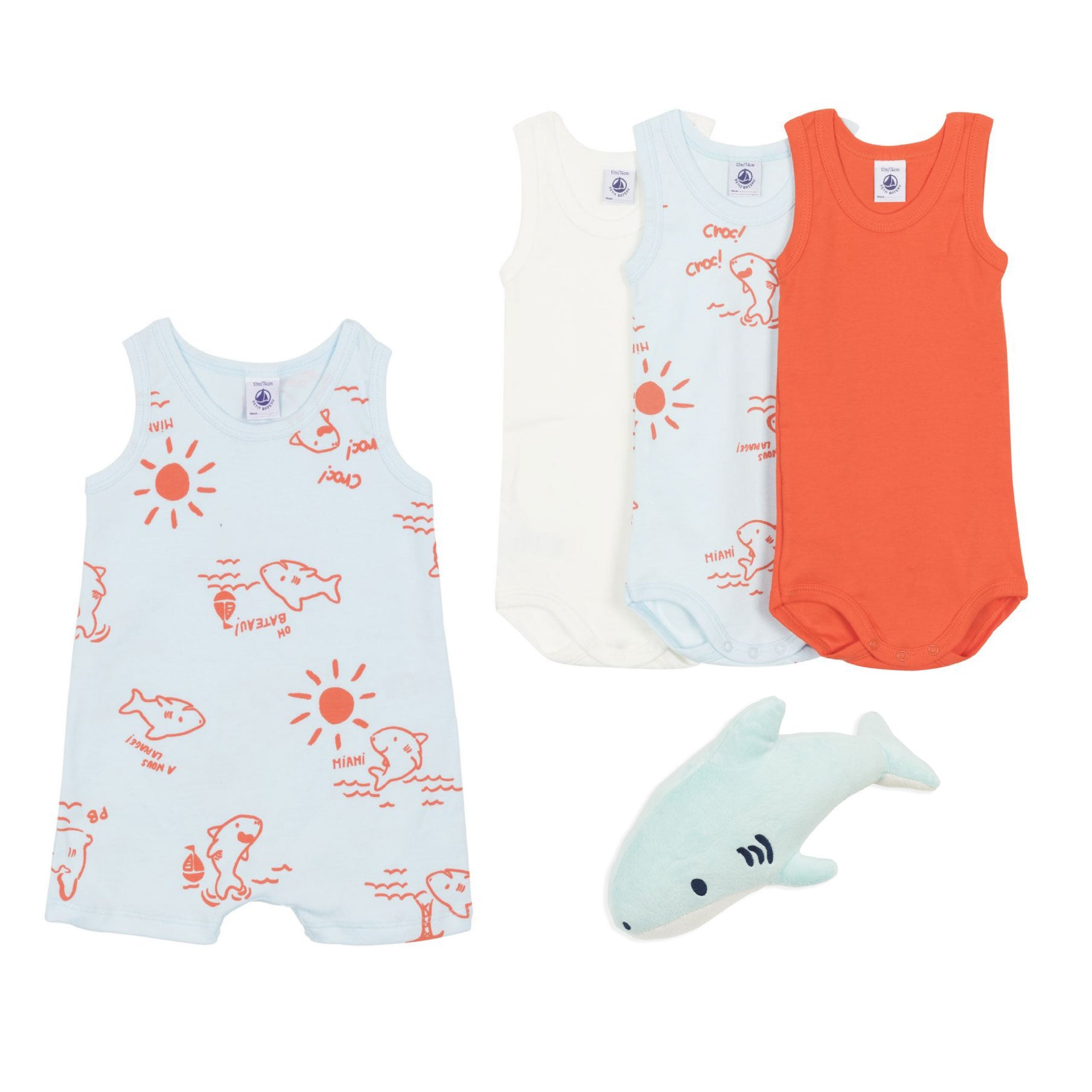Baby Shark Baby Gift by Bonjour Baby Baskets featuring Petit Bateau