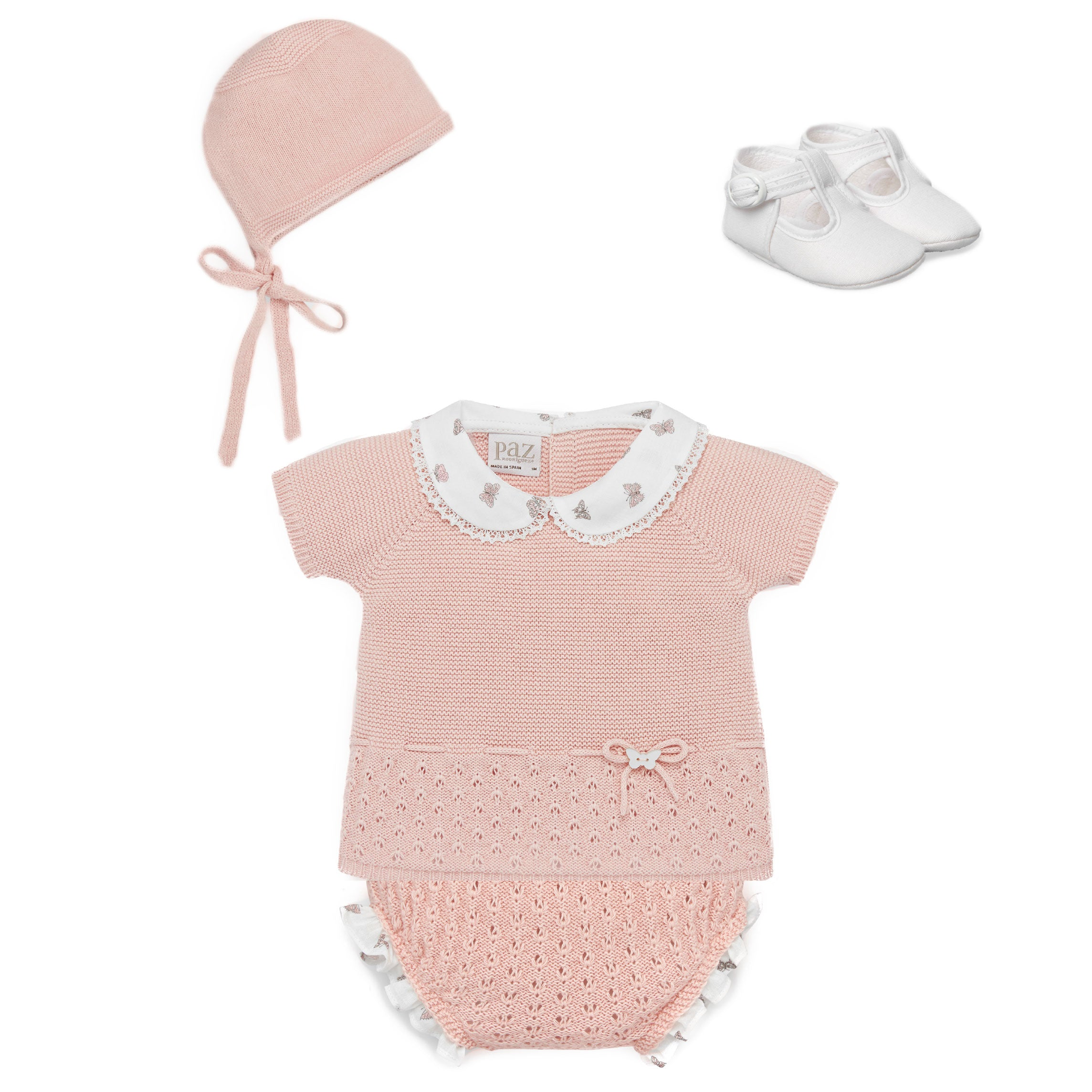 Paz Rodriguez Luxury Baby Gift set in antique rose at Bonjour Baby Baskets