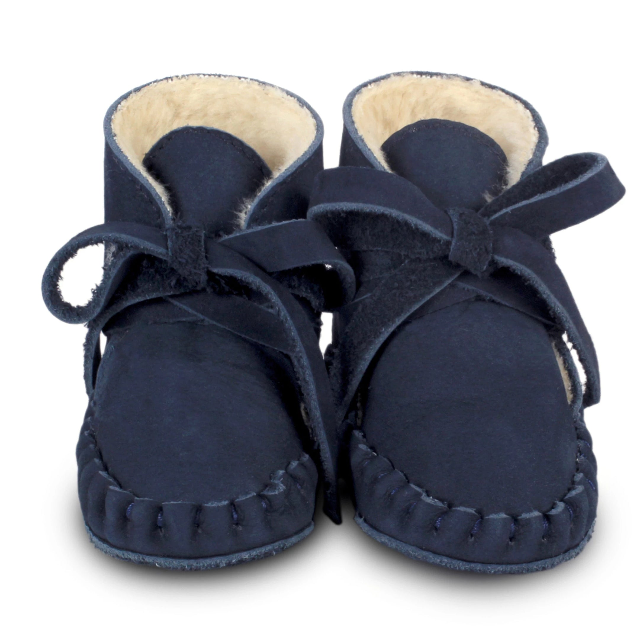 Donsje Lined Baby Boots in Navy. Perfect addition to your BYOB (Build Your Own Basket)