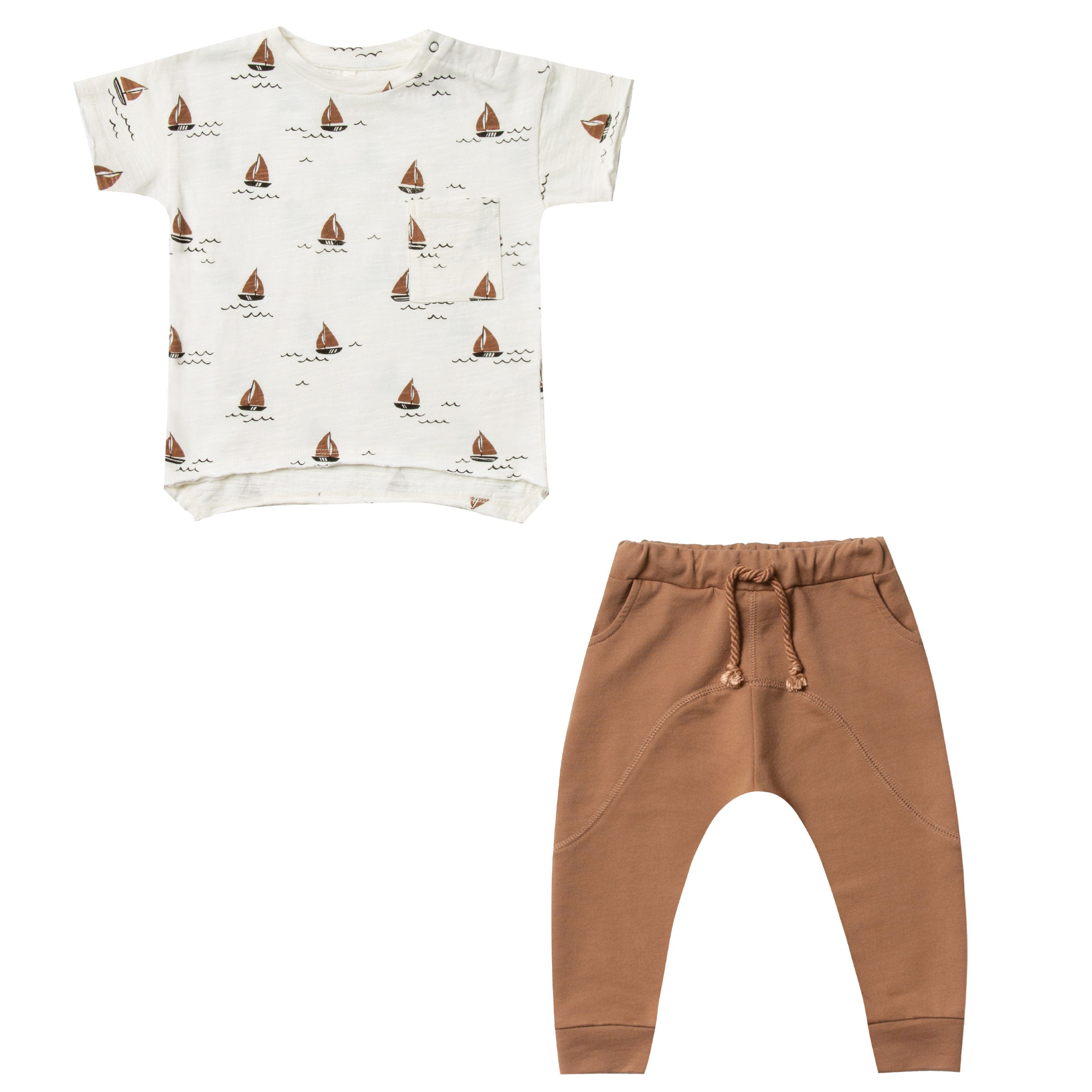 Rylee and Cru Baby tee with sailboats and slouchy pants at Bonjour Baby Baskets, Celebrity Baby Gifts