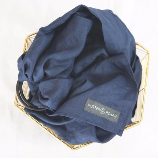 Baby Carrier in Linen Navy with Black Ring at Bonjour Baby Baskets