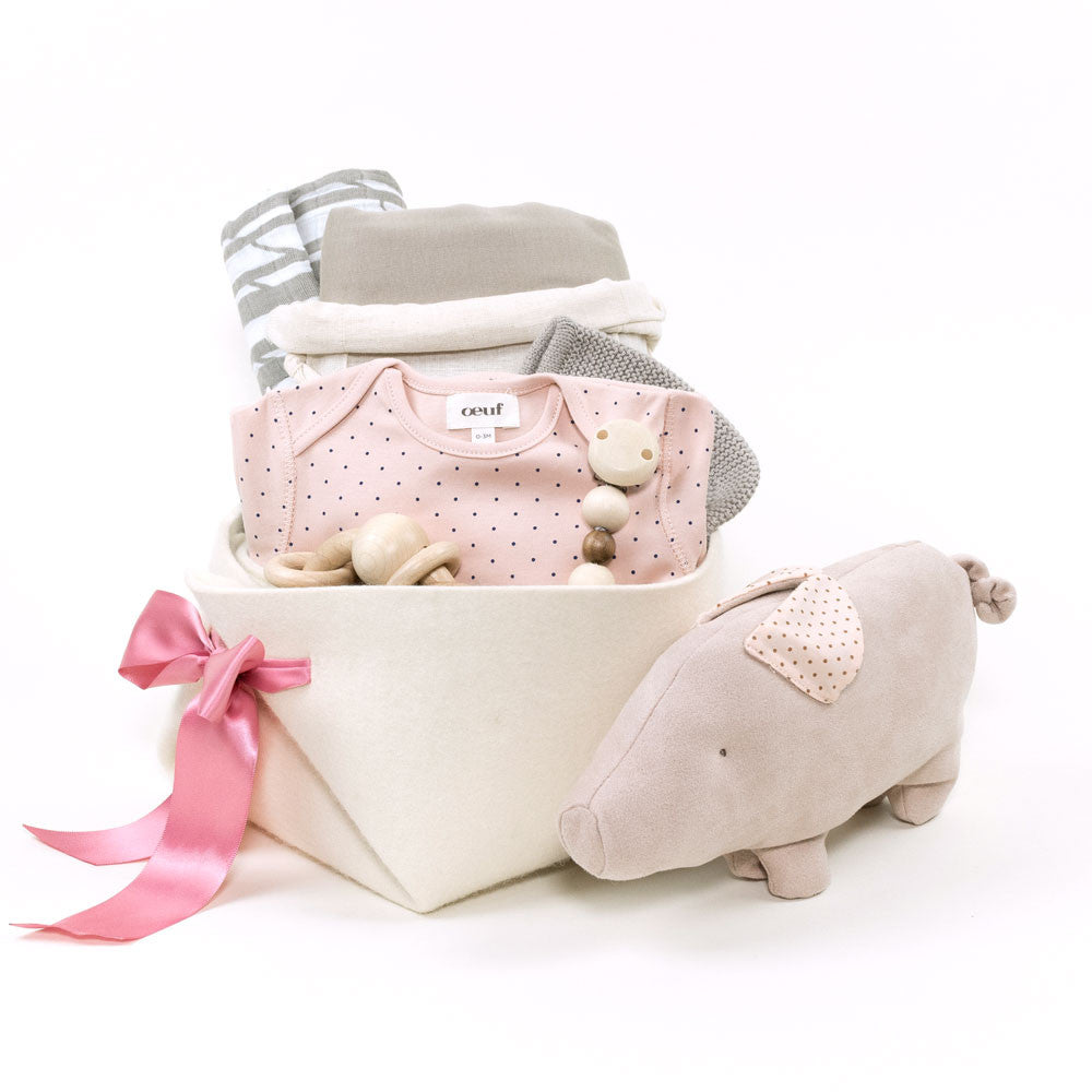 Oeuf NYC Welcome Home Baby Girl Gift Basket - Bonjour Baby ...