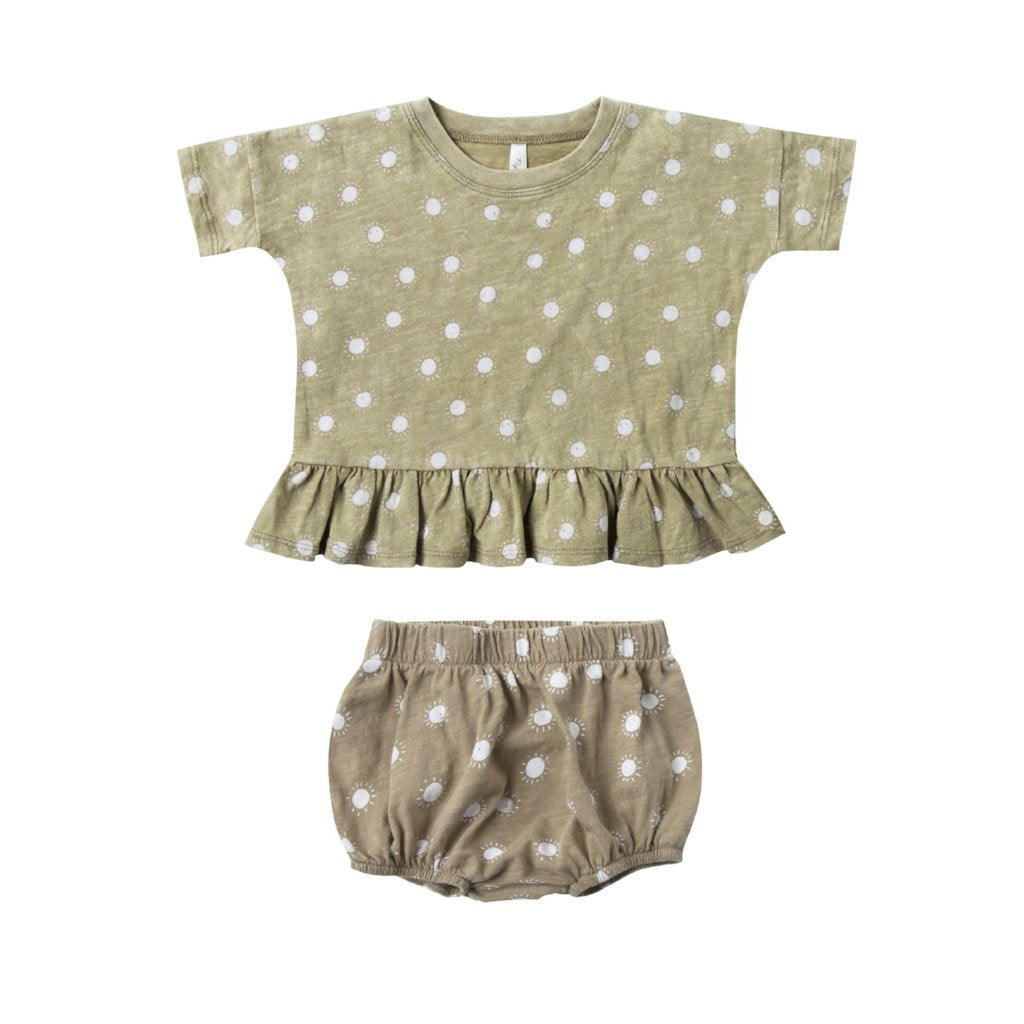 Rylee and Cru Sunrise Peplum Top and bloomer set