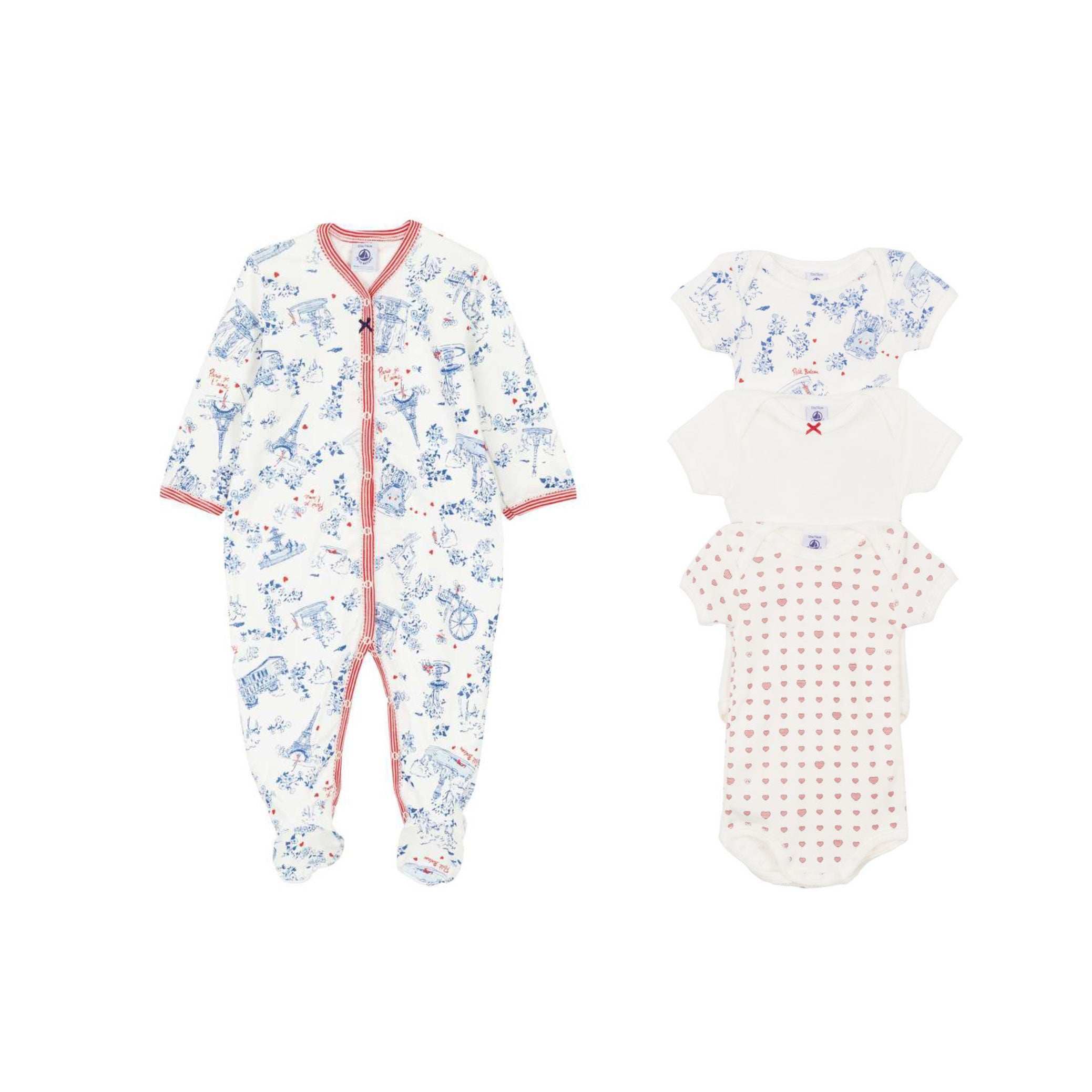 Petit Bateau 4 piece Sleeper and Onesies set with Paris Print at Bonjour Baby Baskets, Luxury baby gifts