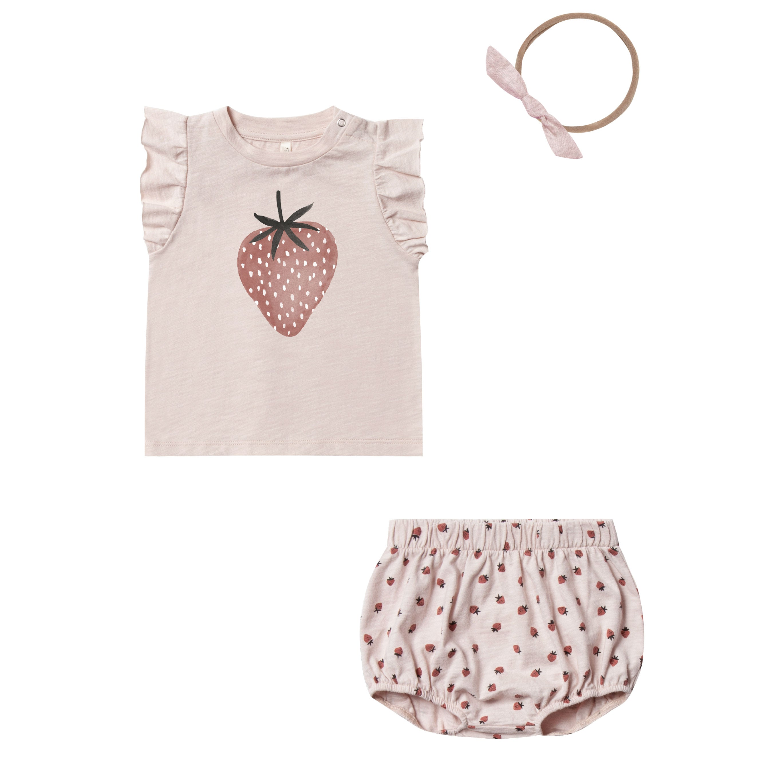 Rylee and Cru Baby Girl top, bloomer and headband with strawberry print, perfect addition to your BYOB (Build Your Own Basket)