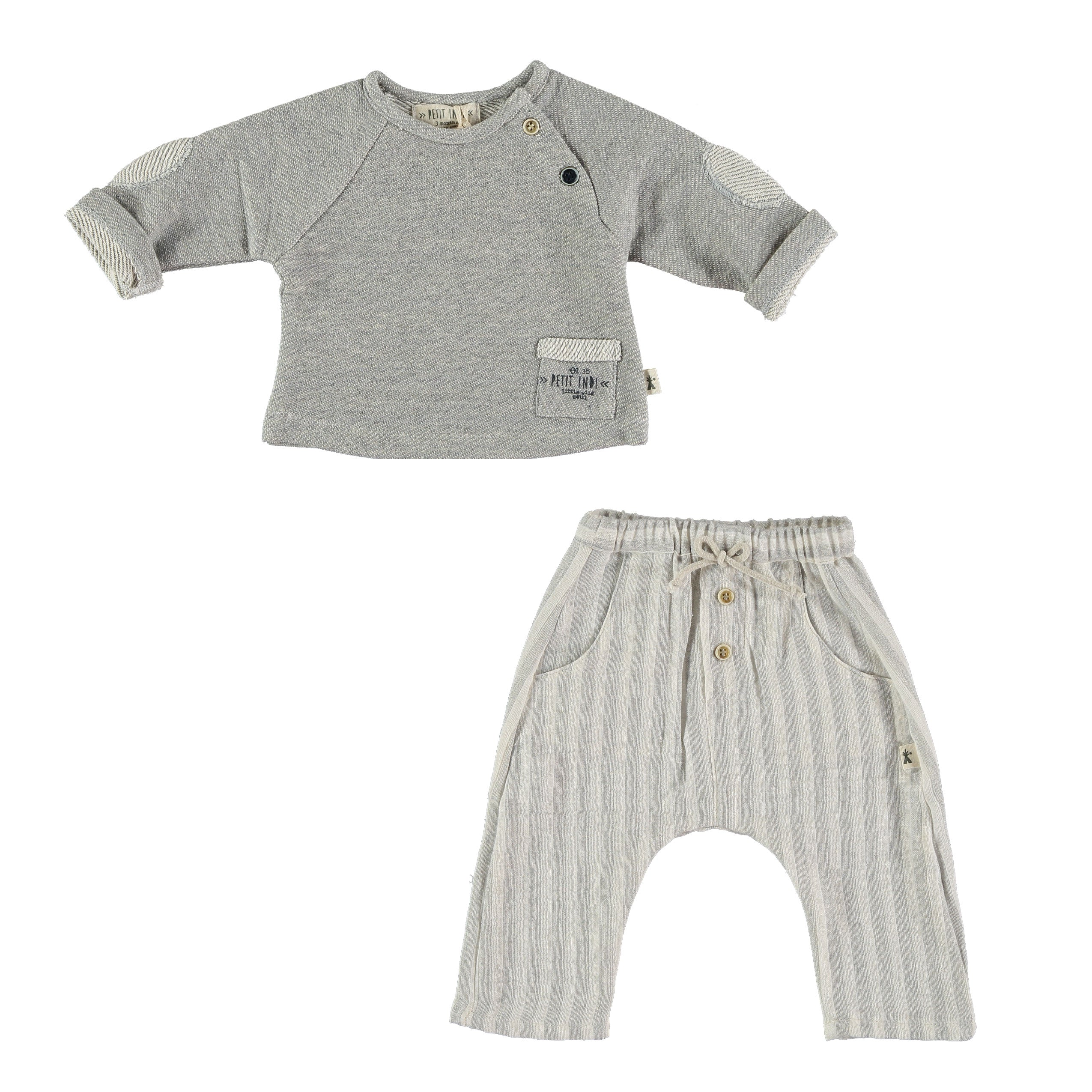 Baby Sweater with elbow patches and slouchy pants set by Petit Indi at Bonjour Baby Baskets, great addition to your BYOB (Build Your Own Basket)
