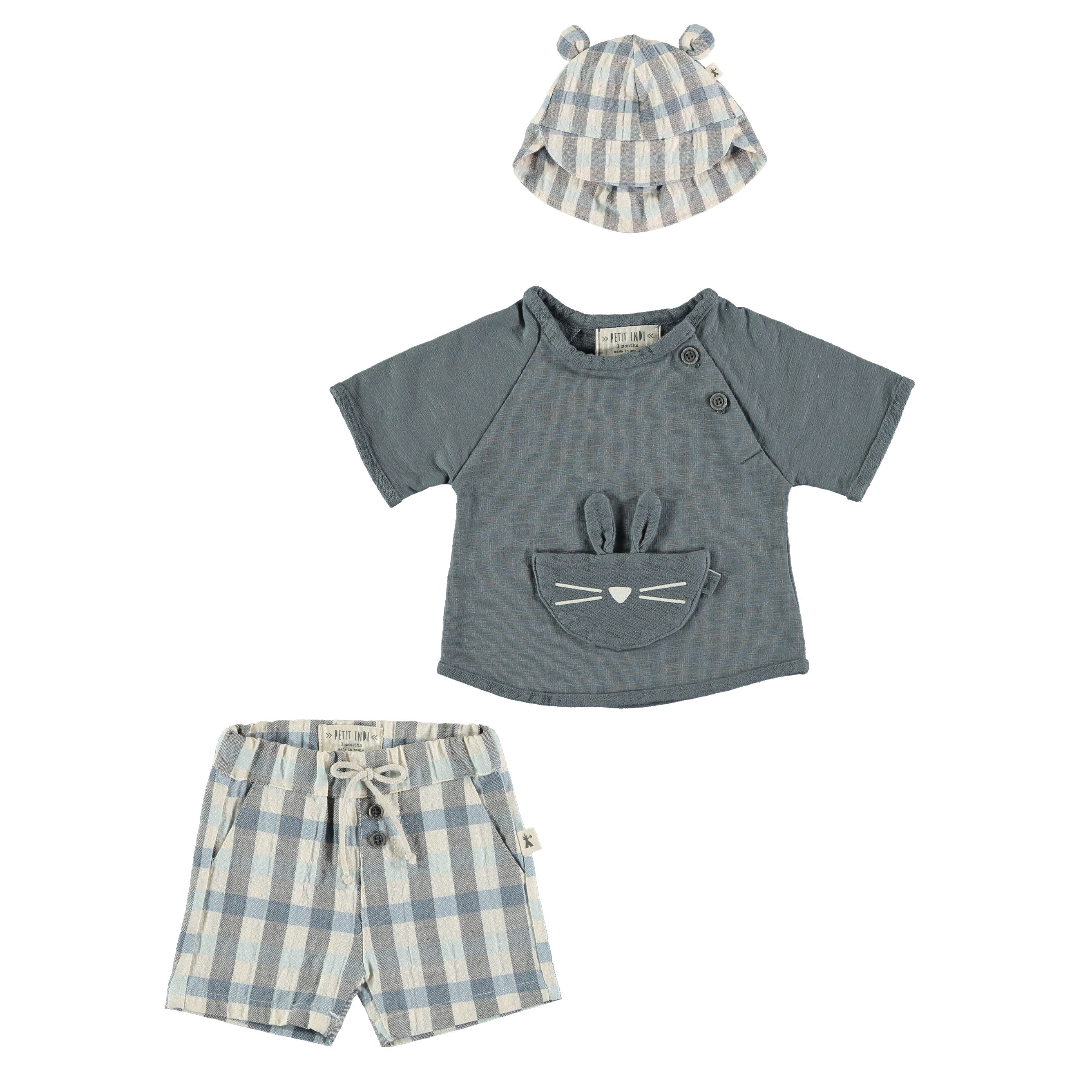 Summer Baby Outfit in Gingham by Petit Indi available at Bonjour Baby Baskets