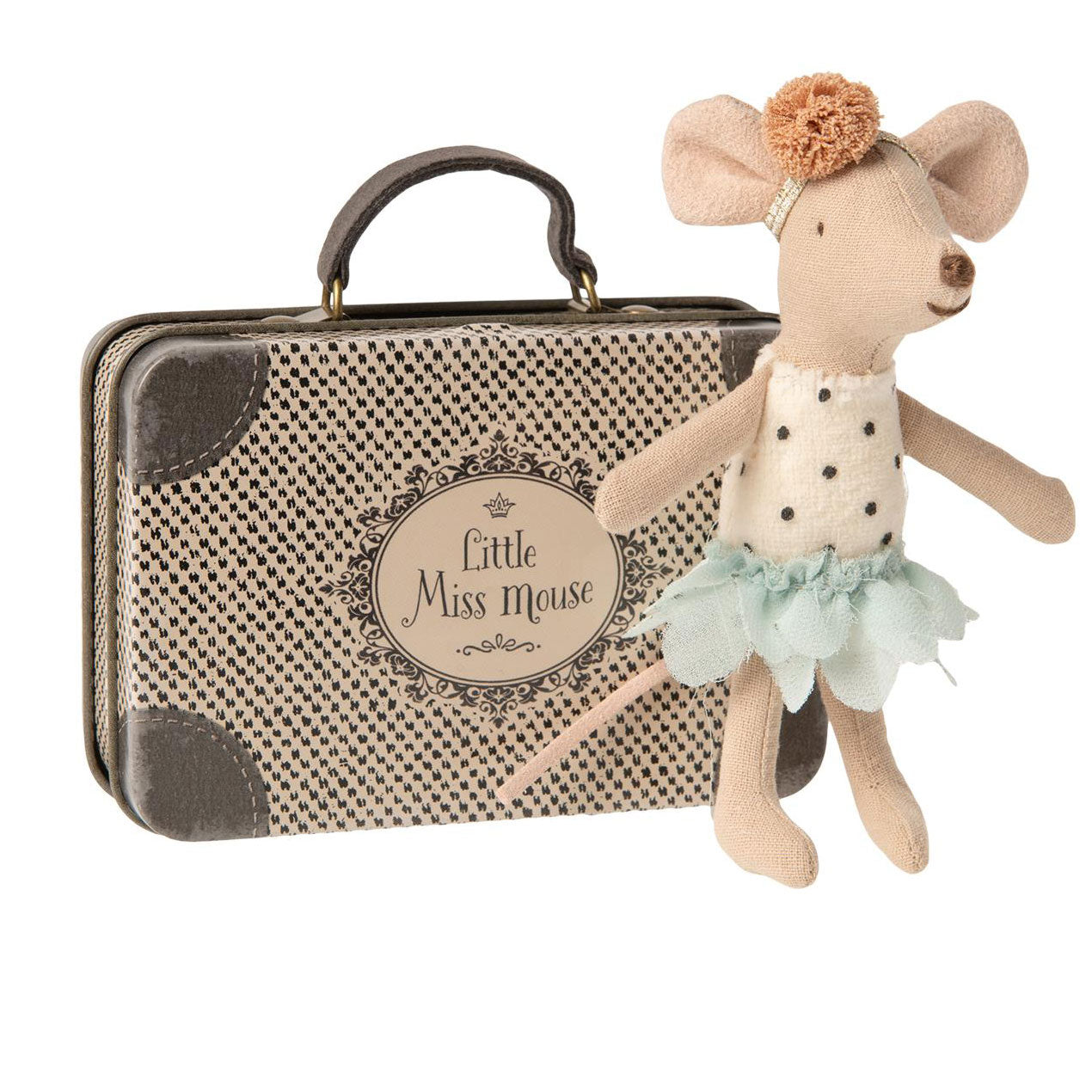 Maileg Little Miss Mouse in Suitcase at Bonjour Baby Baskets