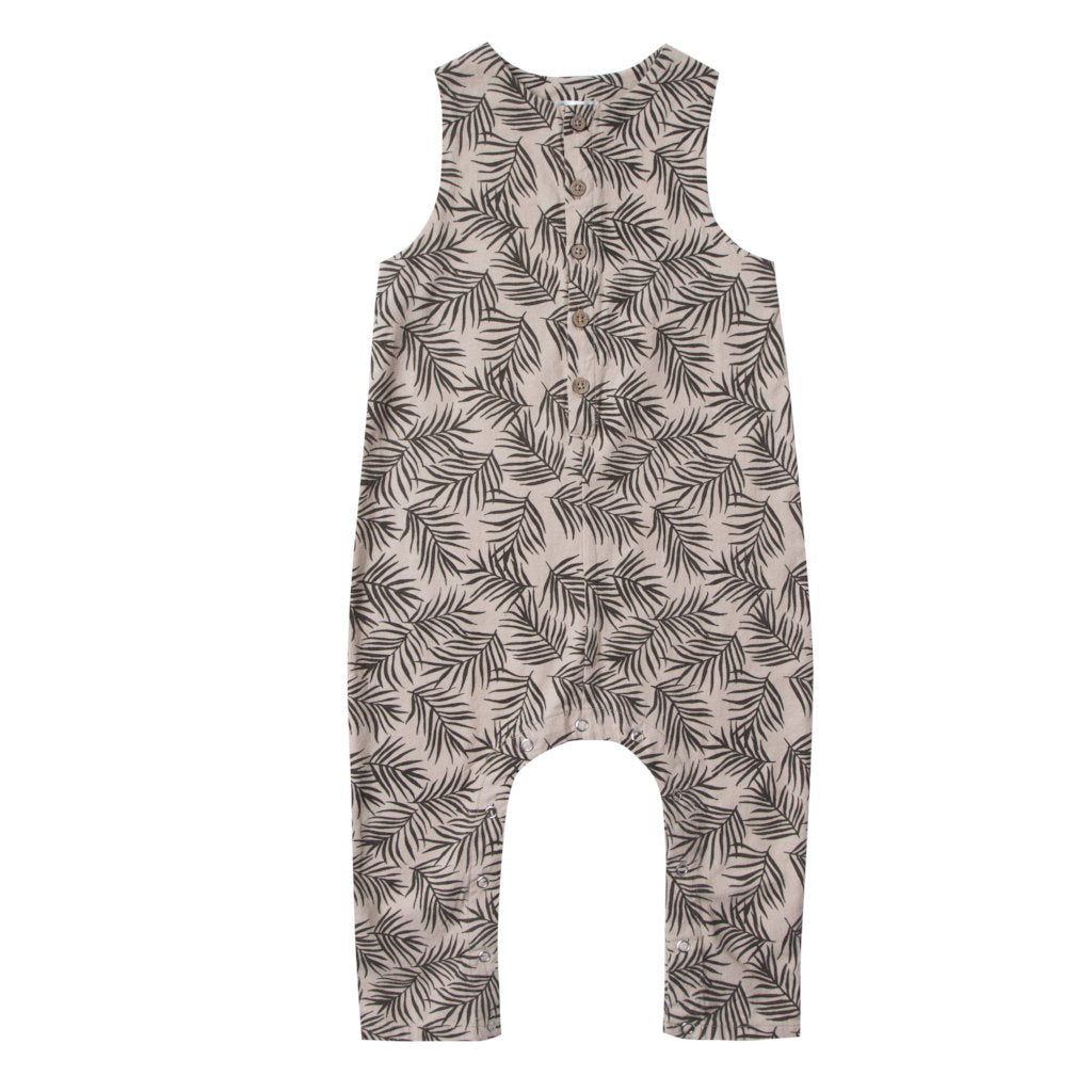 Rylee and Cru Palm Leaf romper at Bonjour Baby Baskets