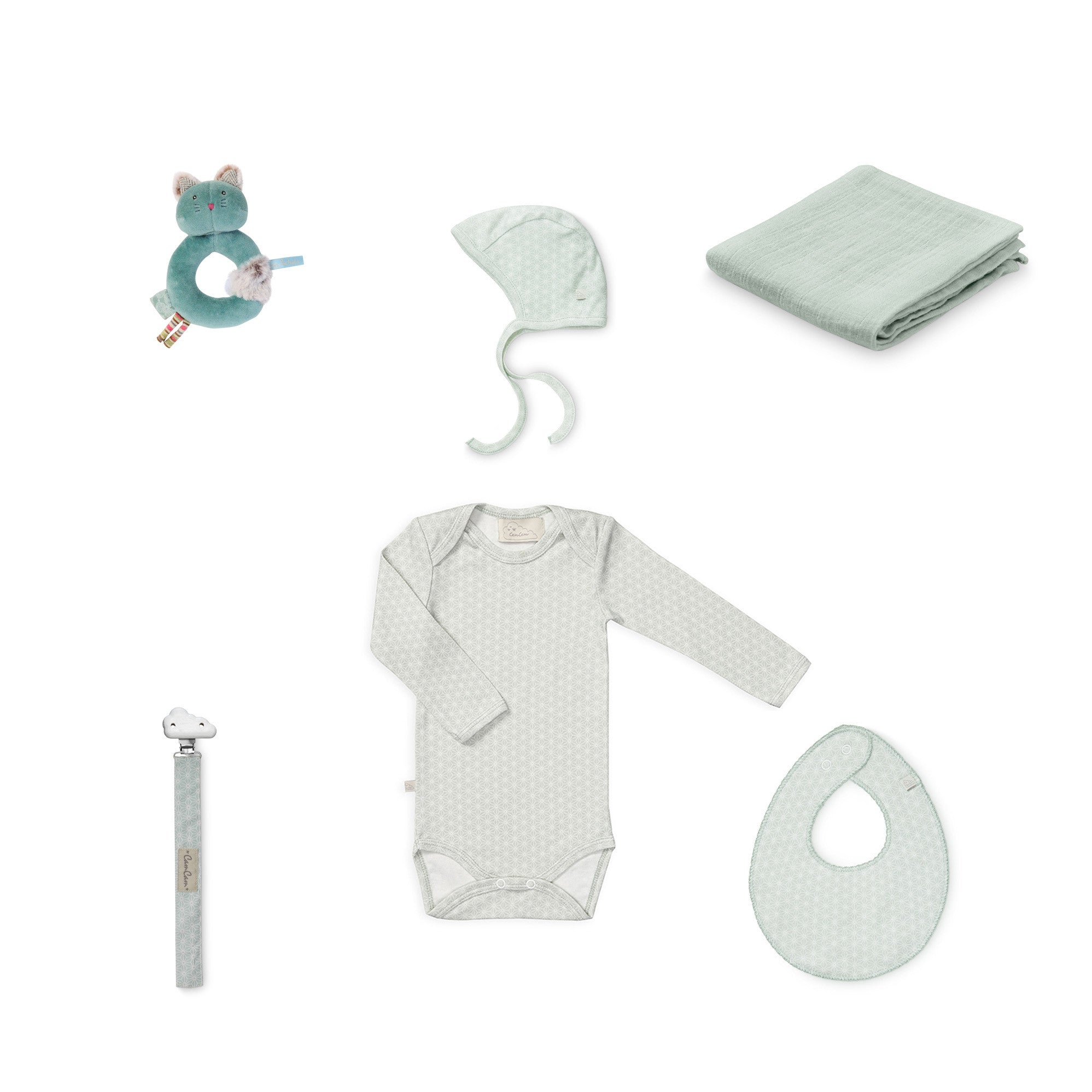 Organic Cotton Baby Set - Sashiko Mint