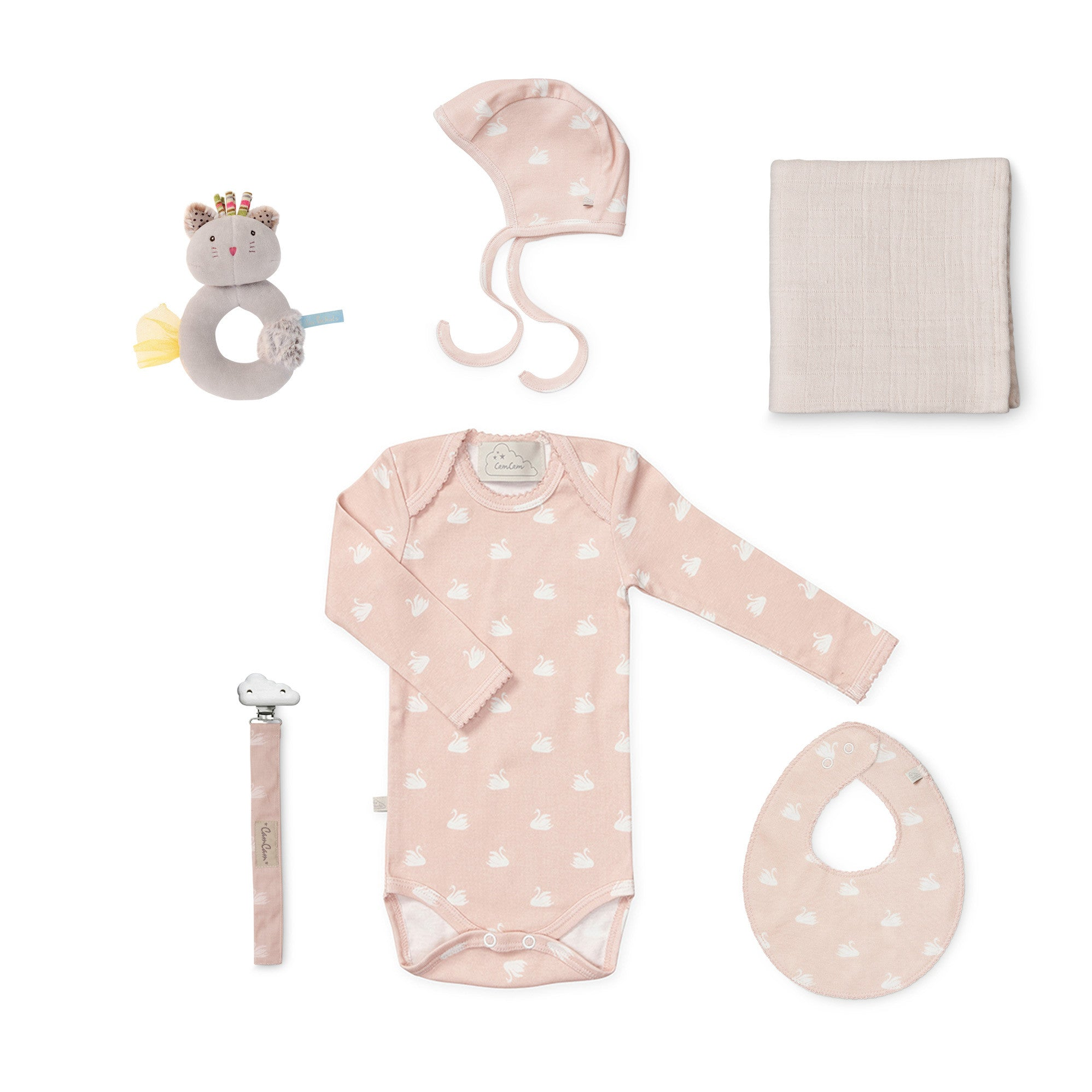 Organic Cotton Baby Set - Swans