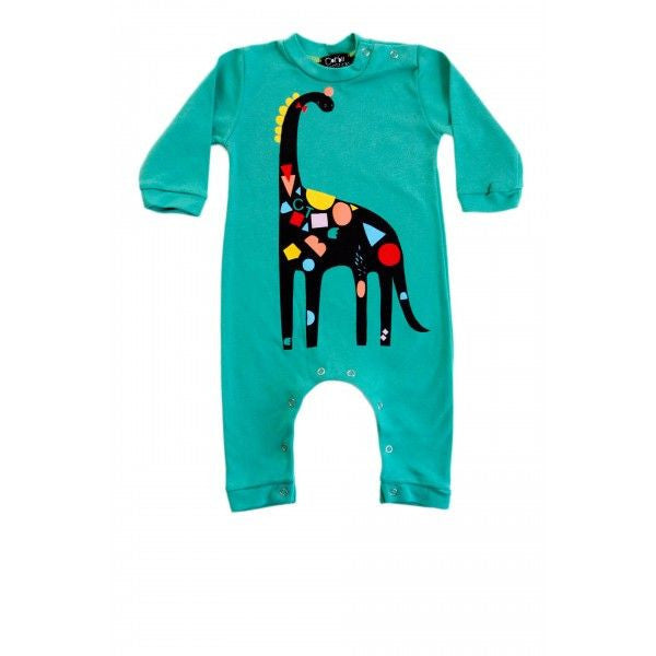 Dino Cotton Romper + Beanie Set