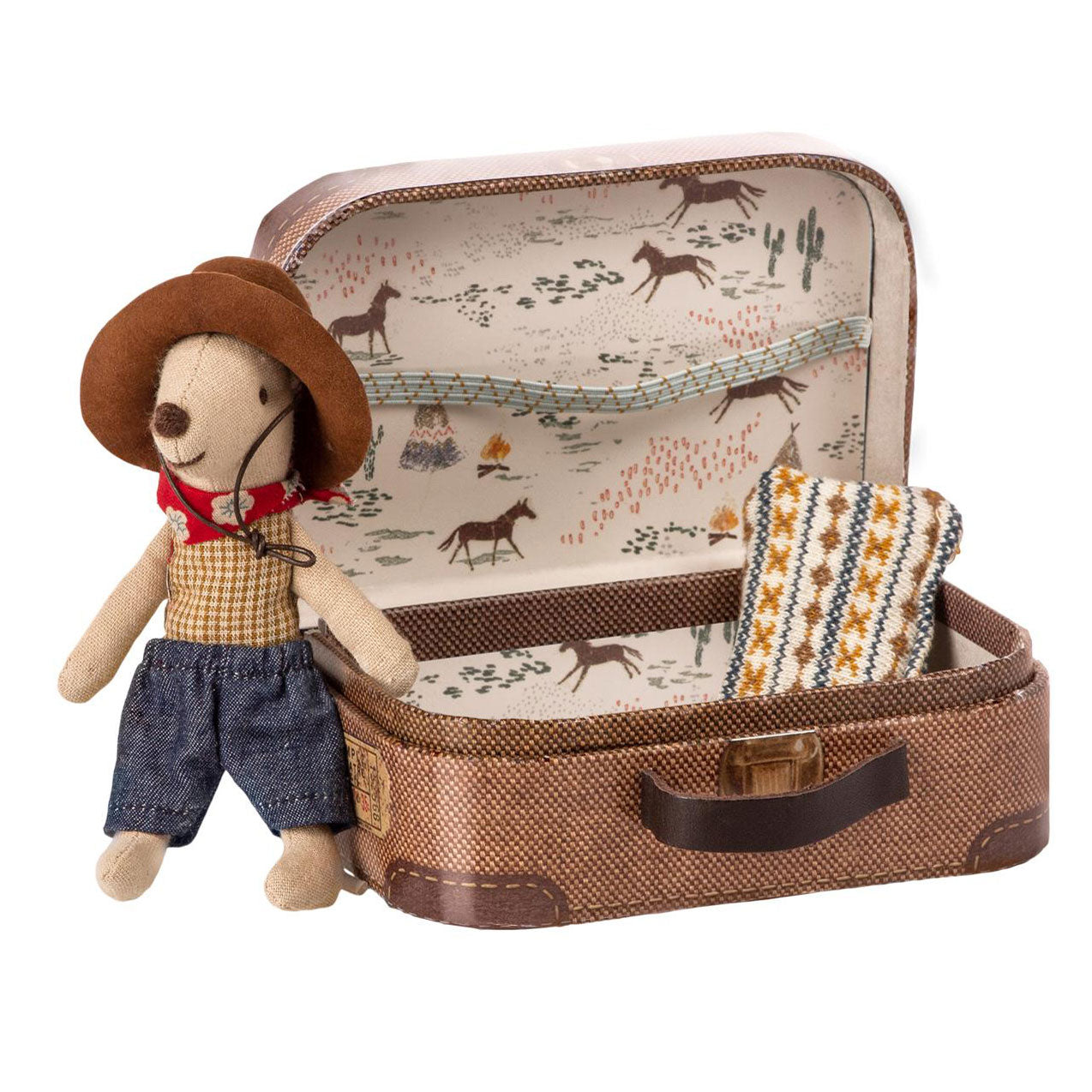 Cowboy little brother mouse with suitcase by Maileg at Bonjour Baby Baskets, luxury baby gifts