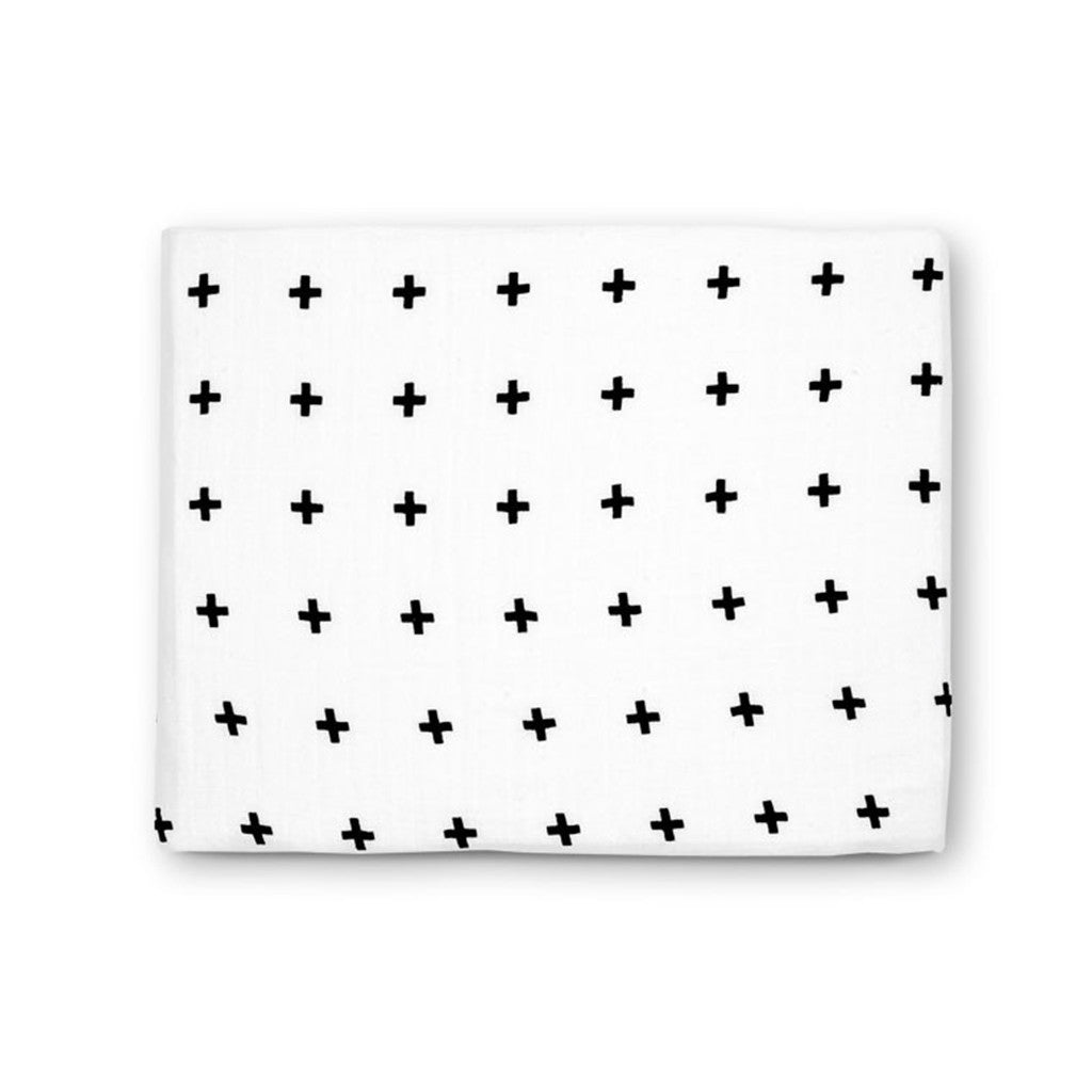 Swaddle  Blanket Organic - Monochrome Swiss Cross