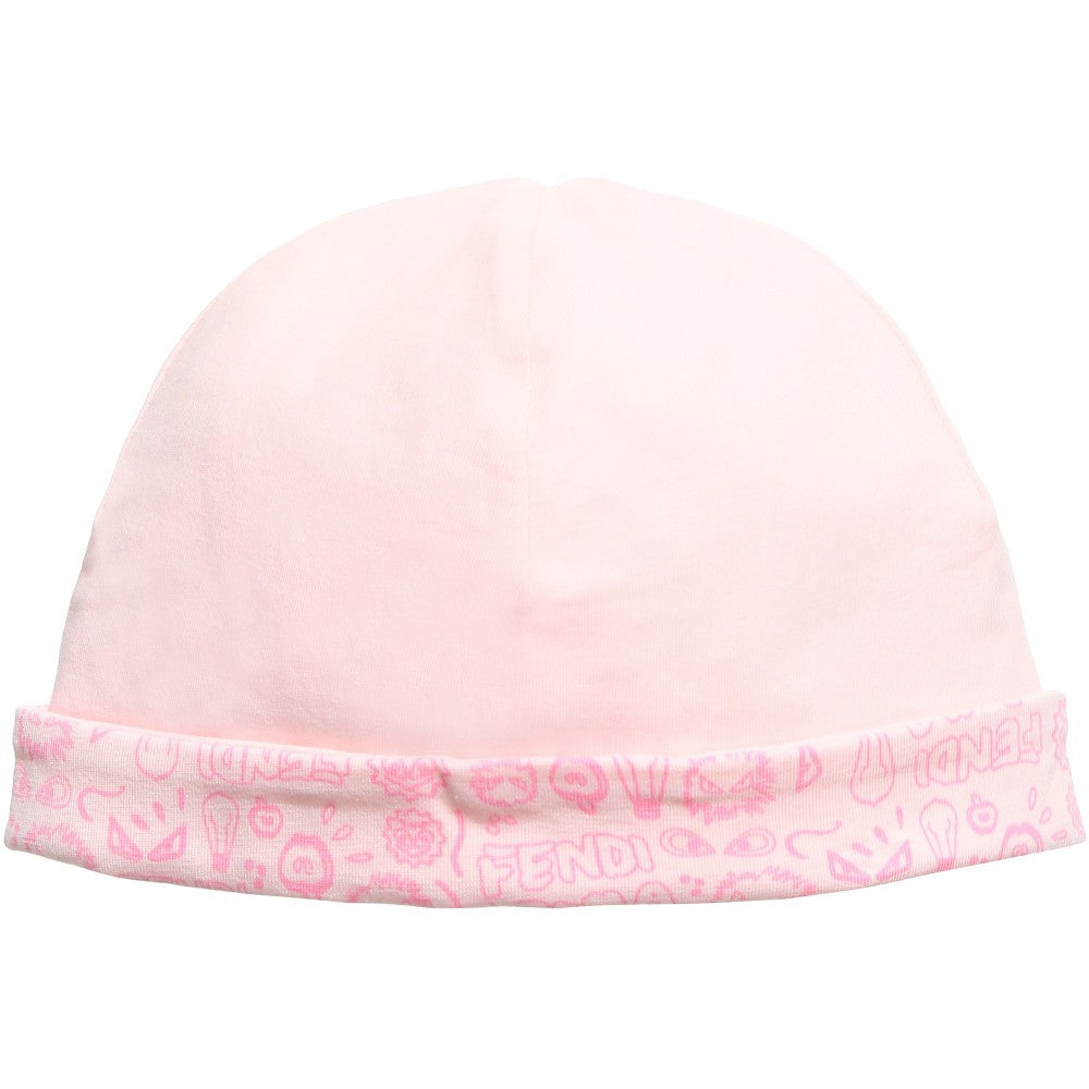 13faad6e55ef Pink Baby Girl Hat with Monster Roma print by Fendi – Bonjour Baby ...