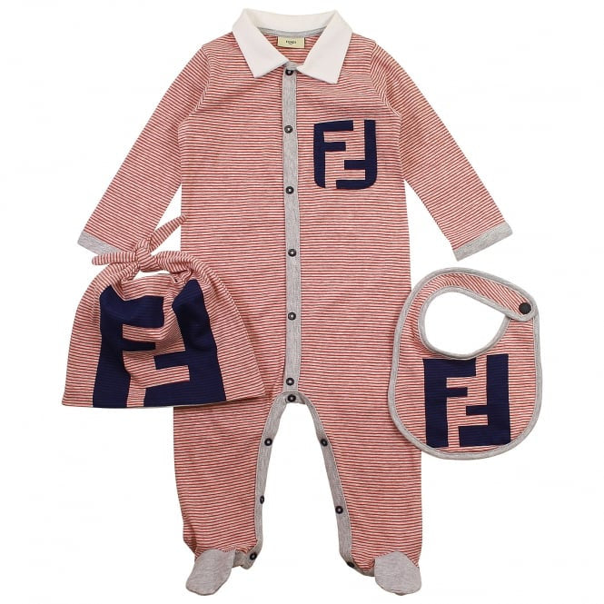 Luxury Baby Gift Set by Fendi in red and grey with a touch of navy