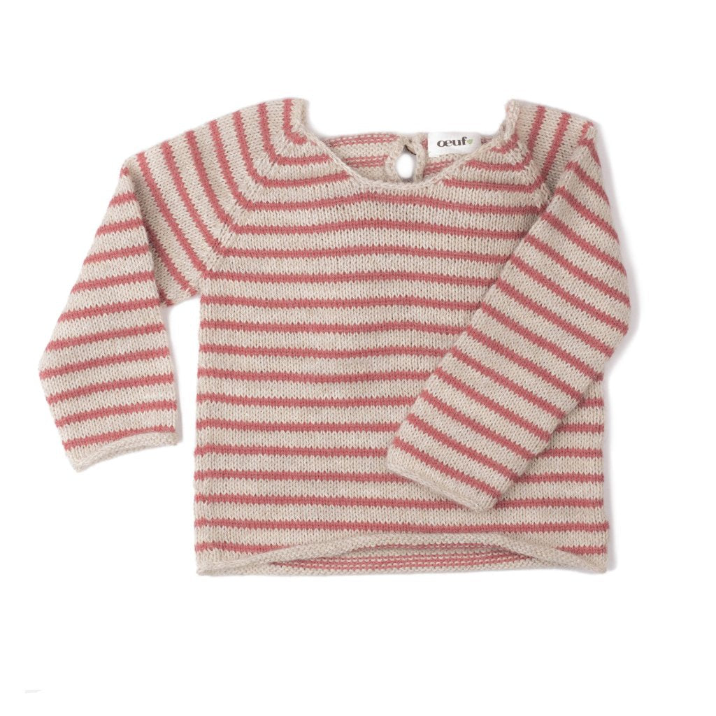 Oeuf Nyc Alpaca Knitted Sweater With Angel Wings Coral Stripes