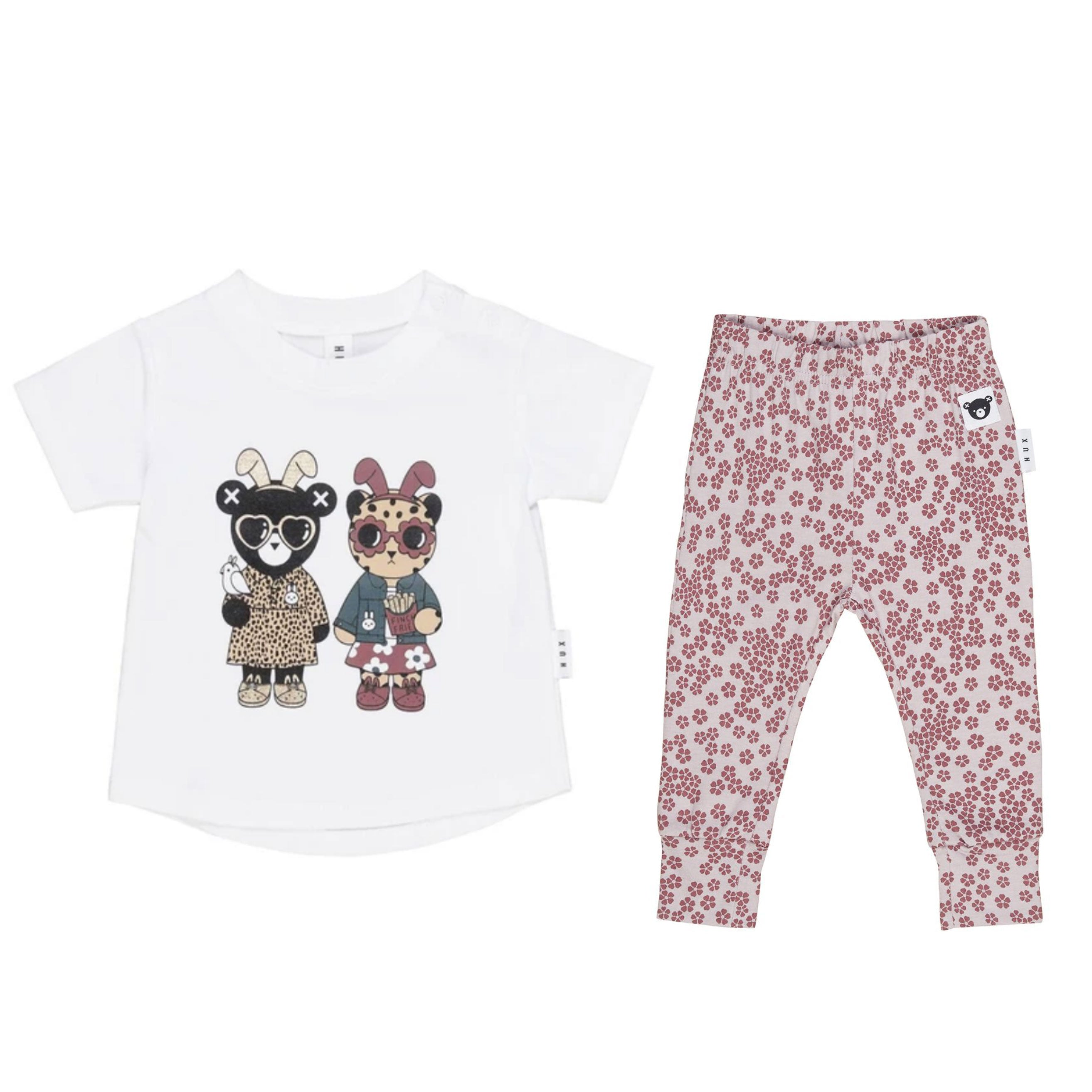 Huxbaby Bunny T-shirt and Floral Leggings