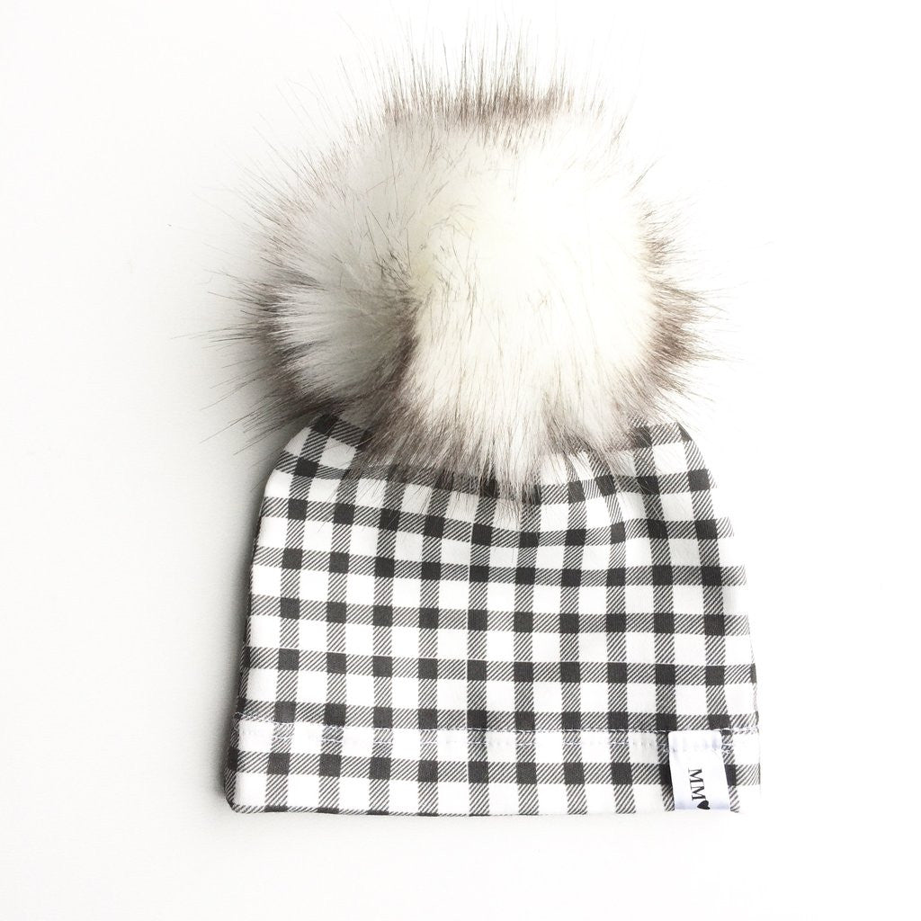 Plaid Baby Beanie with Faux Fur Pom Pom at Bonjour Baby Baskets