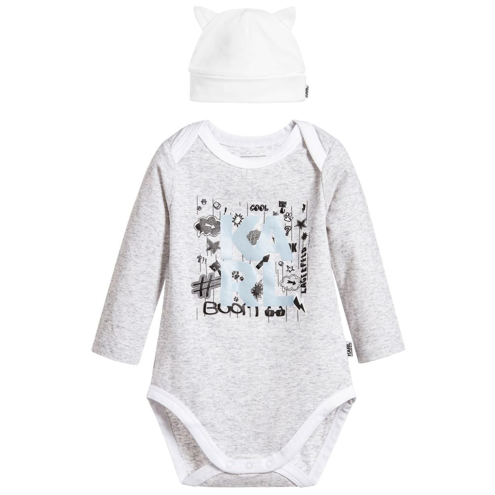 KARL LAGERFELD Kids baby Onesie and Hat Choupette set at Bonjour Baby Baskets