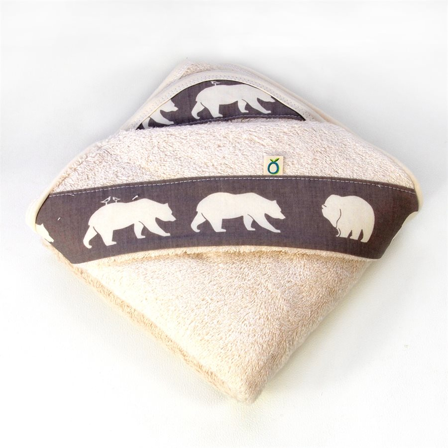 Organic Baby towel with bears. Perfect for your Corporate Baby Gifts and Baby Shower Gift Ideas