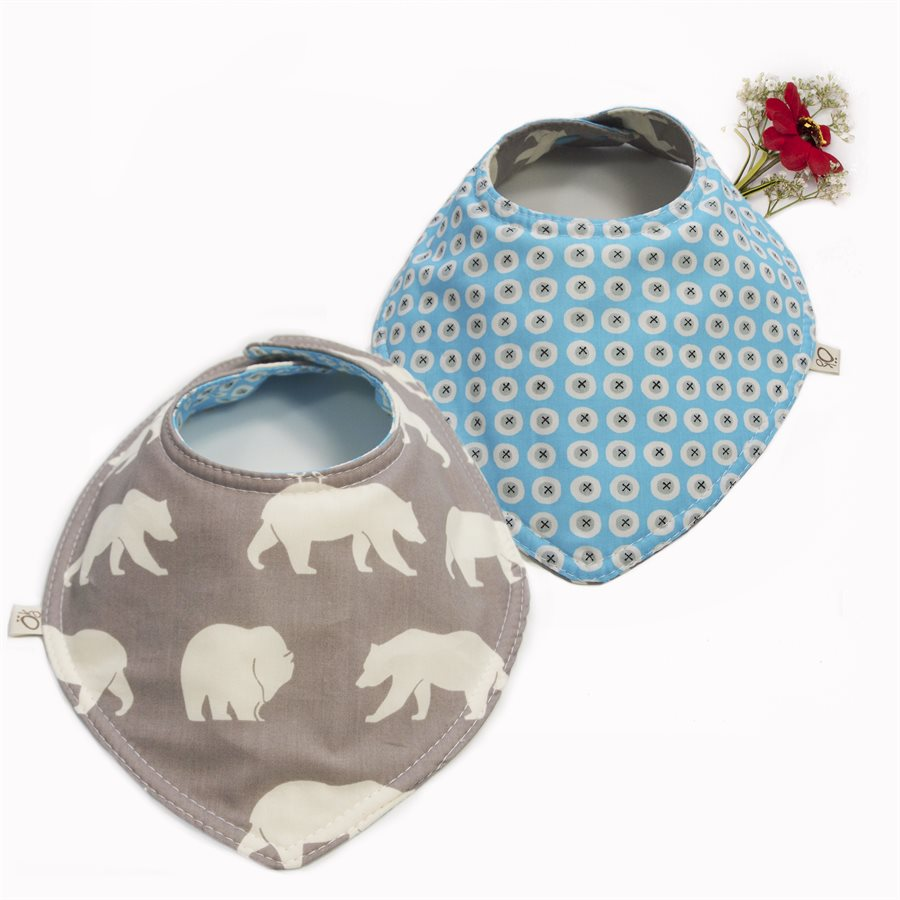 Organic bandana bib reversible with bears