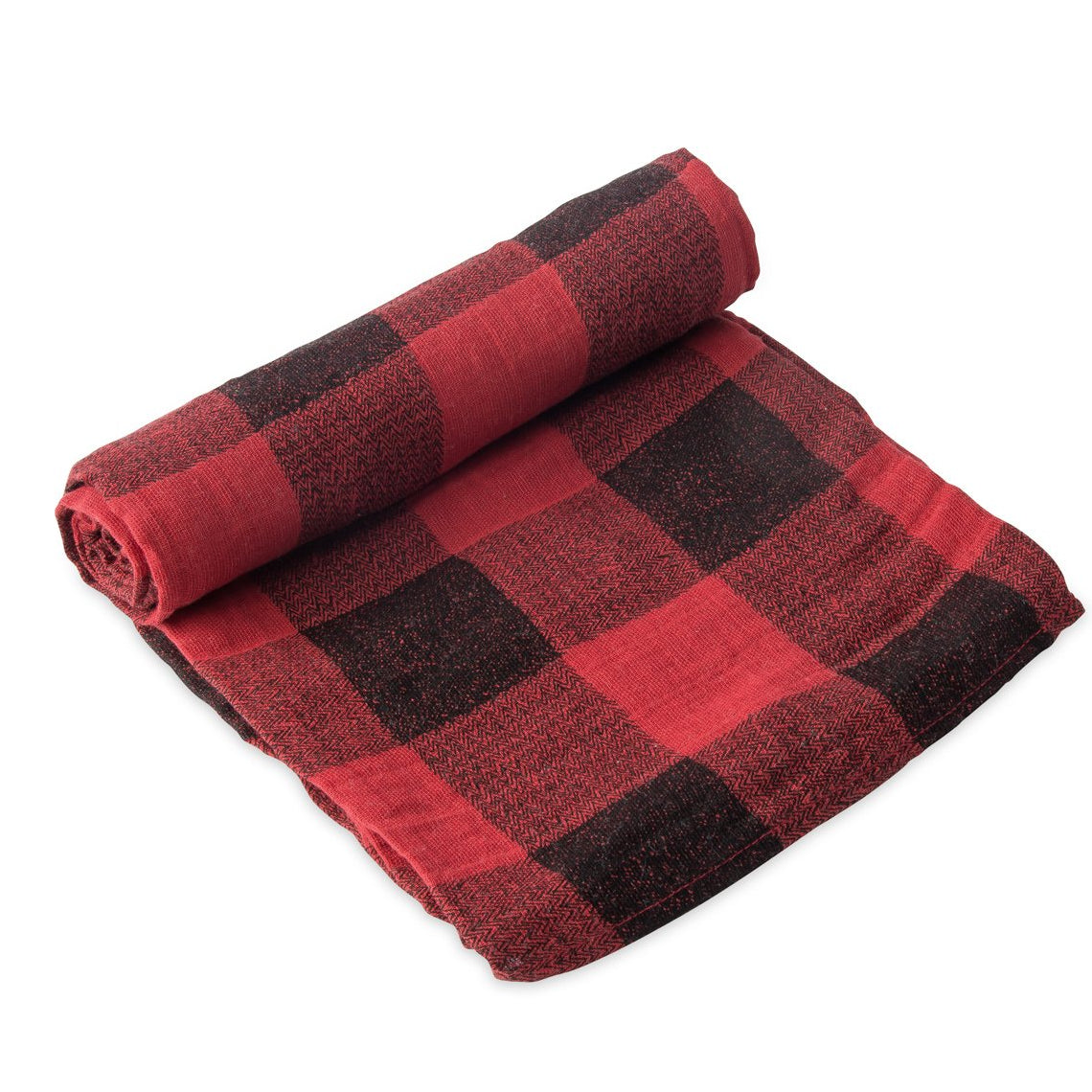 Red Plaid swaddle blanket by Little Unicorn at Bonjour Baby Baskets