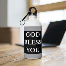 Load image into Gallery viewer, GOD BLESS YOU Stainless Steel Water Bottle (White/Grey/Black)