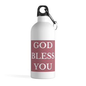 GOD BLESS YOU Stainless Steel Water Bottle (Rose Gold)