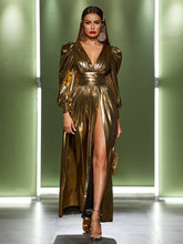 Load image into Gallery viewer, Holiday Gold Dress: Size Medium