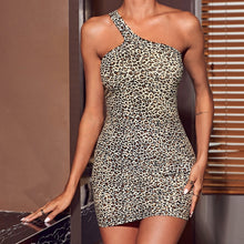 Load image into Gallery viewer, One Shoulder Leopard Bodycon Dress (M)
