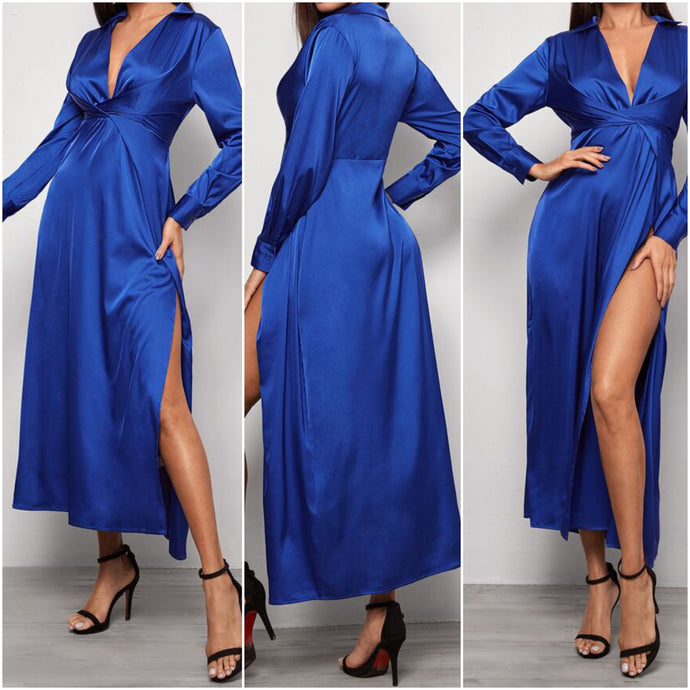Plunging Neck Twist Front Split Thigh Blue Dress (S)