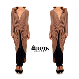 Taupe Draped Top: Medium (NEW)