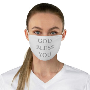 GOD BLESS YOU Fabric Face Mask (White/Grey)
