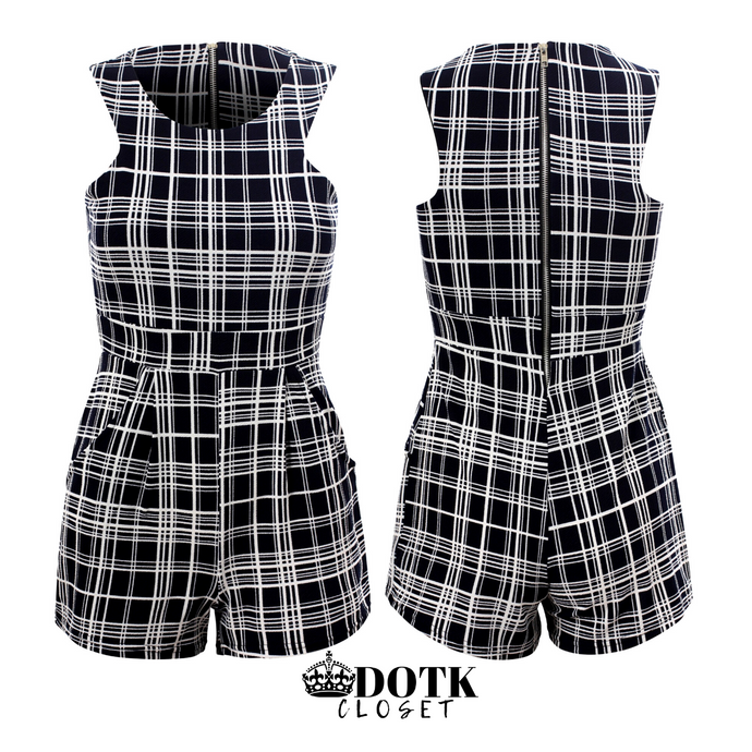 Checkered Dark Blue & White Shorts Romper: Size 4 (NEW)