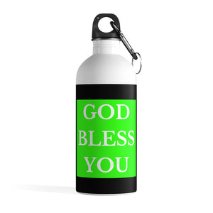 GOD BLESS YOU Stainless Steel Water Bottle (Lime/Blk/White)