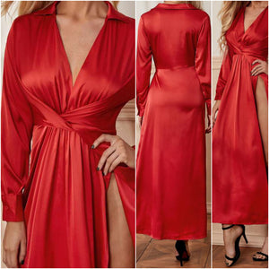 Plunging Neck Twist Front Split Thigh Red Dress (S)