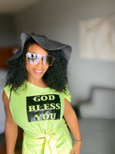 "Load image into Gallery viewer, TEE ""GOD BLESS YOU"" (LIME GREEN UNISEX)"